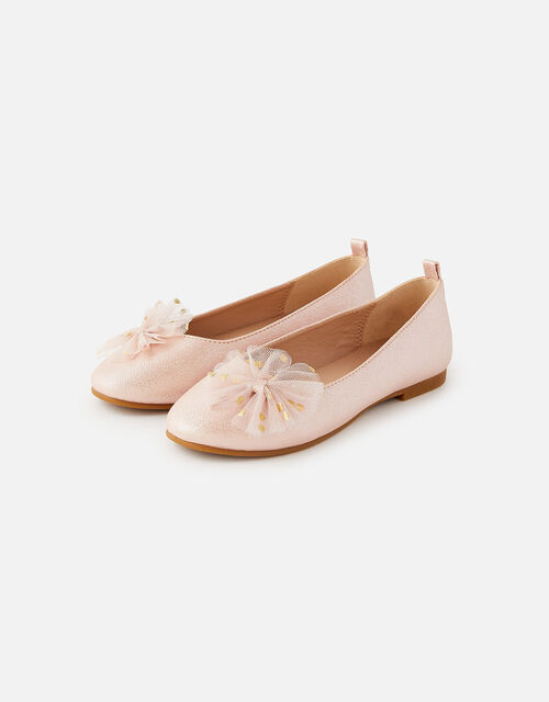 Bow Shimmer Ballerina Flats, Pink (PINK), large