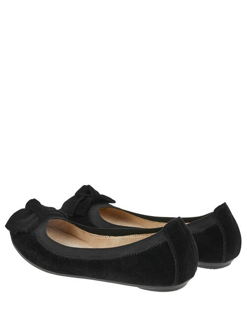 Suede Elasticated Ballerina Flats with Bow, Black (BLACK), large