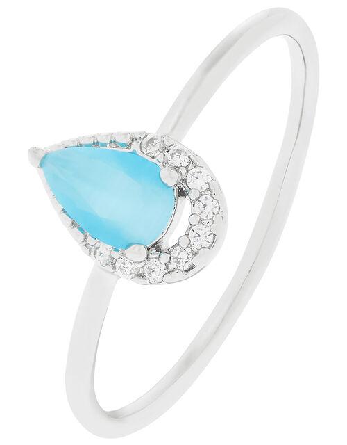 Platinum-Plated Gemstone and Sparkle Ring, Blue (BLUE), large