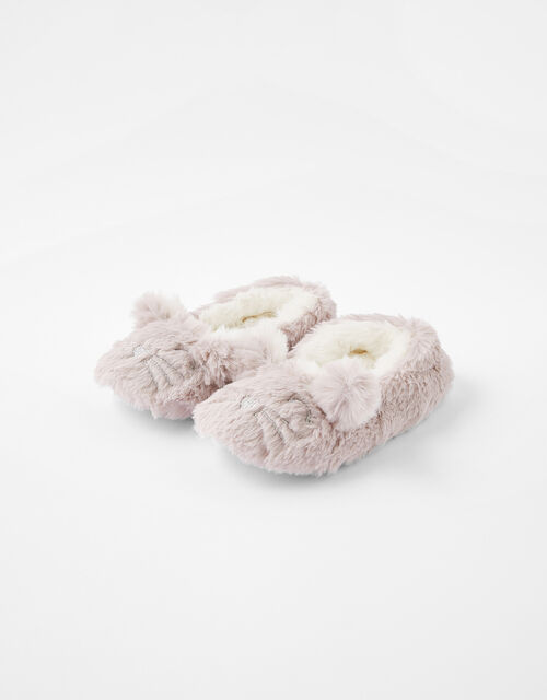 Girls Bella Bunny Fluffy Slippers, Grey (GREY), large