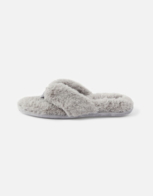 Laura Fluffy Thong Slippers, Grey (GREY), large