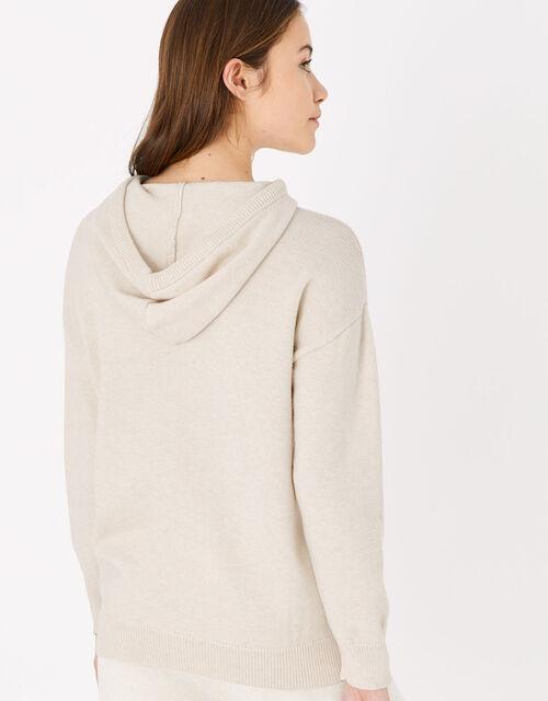 Knit Longline Lounge Hoody, Cream (TAUPE), large