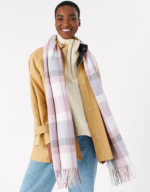 Poppy Pastel Check Blanket Scarf, , large
