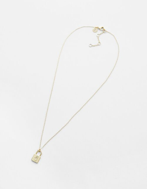 Gold-Plated Padlock Pendant Necklace, , large