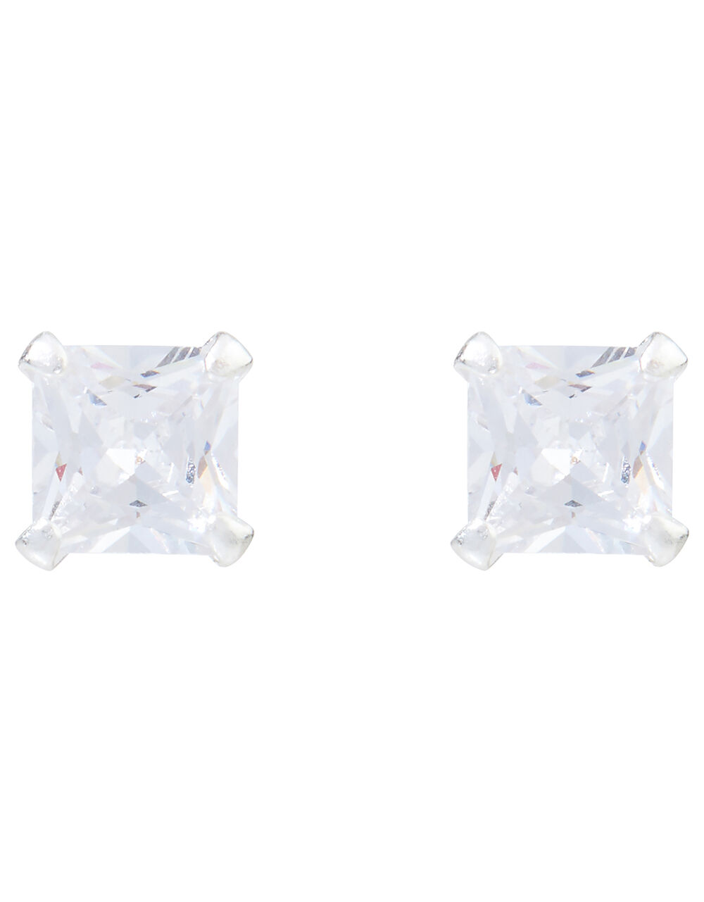 Sterling Silver Square Crystal Stud Earrings, , large