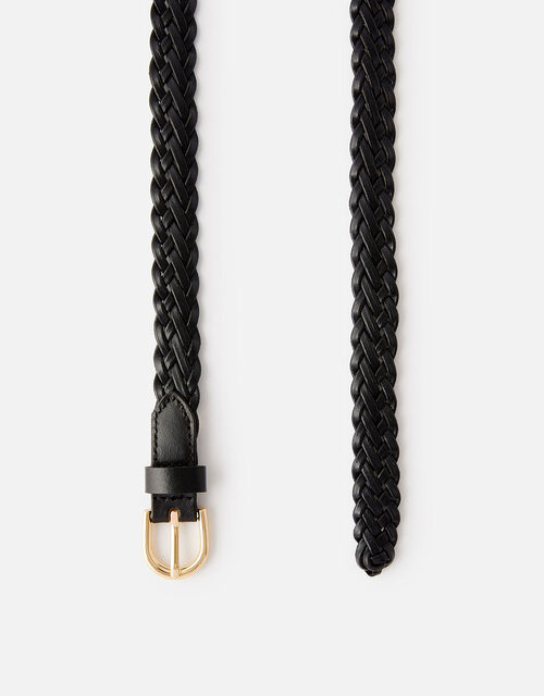 Plaited Weave Leather Belt , Black (BLACK), large