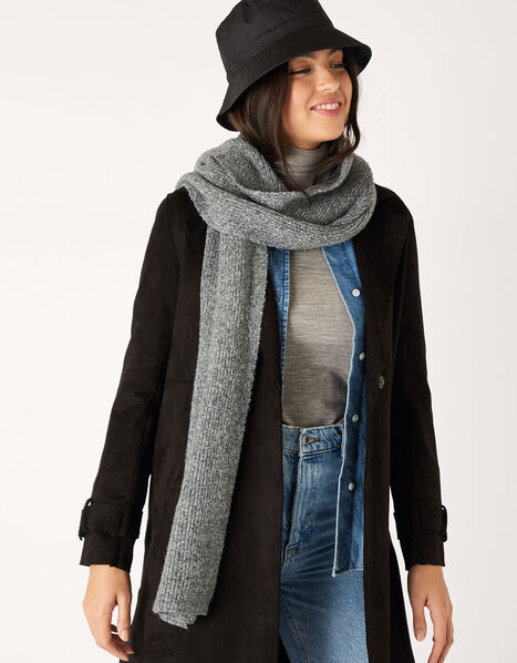 Plain Knit Scarf in Wool Blend Grey, Grey (LIGHT GREY), large