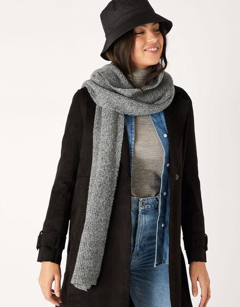 Plain Knit Scarf in Wool Blend Grey, Grey (LIGHT GREY), large