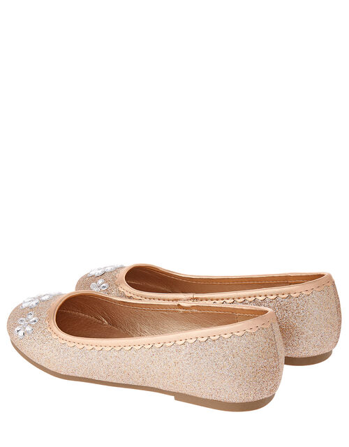 Glitter and Gem Ballerina Shoes, Gold (GOLD), large