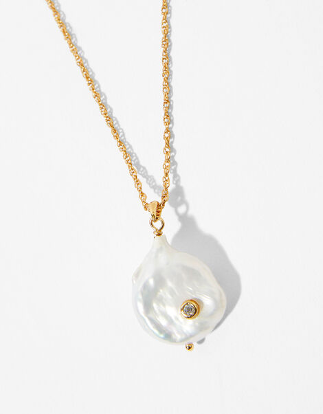Gold-Plated Freshwater Pearl Necklace, , large