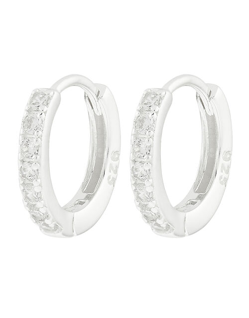 Sterling Silver Sparkle Huggie Hoops, , large