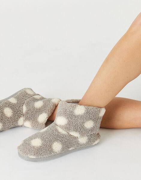 Spot Print Fluffy Slipper Boots Grey, Grey (GREY), large
