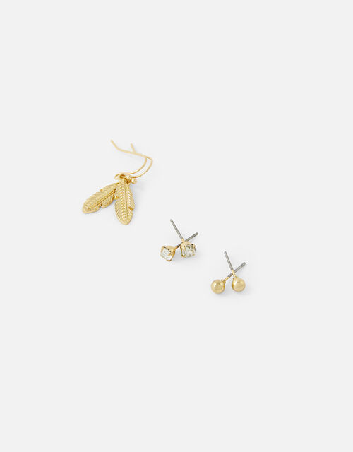 Stud and Leaf Droplet Earring Set, , large