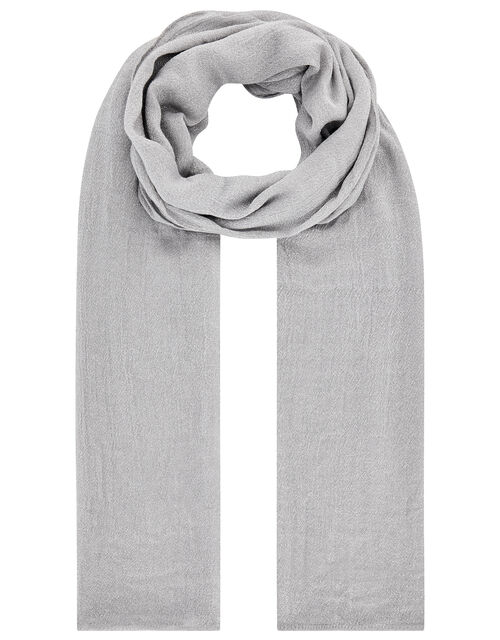 Metallic Lightweight Scarf, Silver (SILVER), large