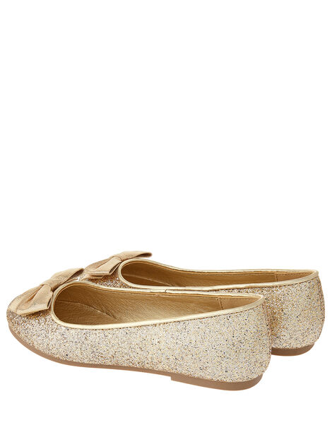 Shimmer Bow Ballerina Shoes Gold, Gold (GOLD), large