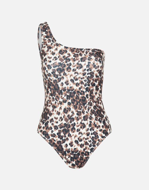 One-Shoulder Leopard Swimsuit , Brown (BROWN), large