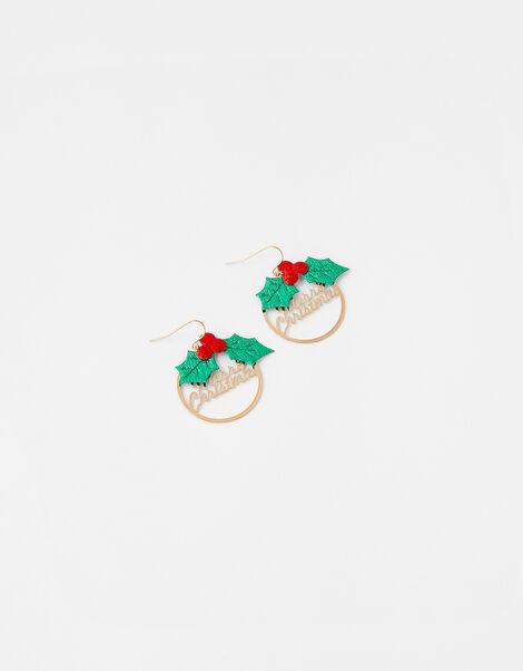 Merry Christmas Holly Hoop Earrings, , large