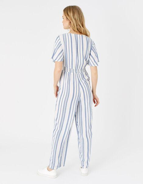 Stripe Tie Front Jumpsuit Blue, Blue (BLUE), large