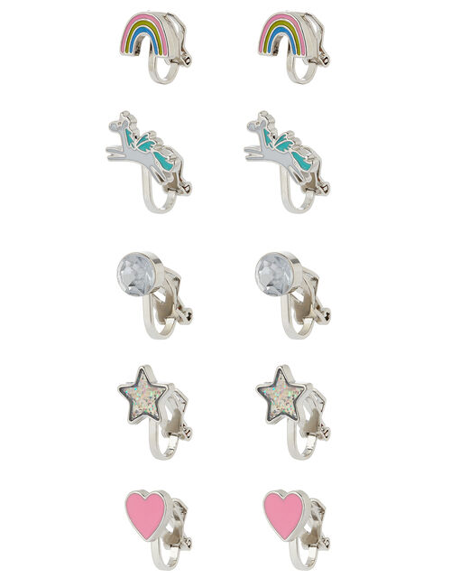 Unicorn Rainbow Clip-On Earring Multipack, , large