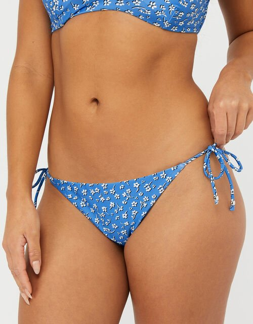 Floral Frill String-Tie Bikini Briefs, Blue (BLUE), large