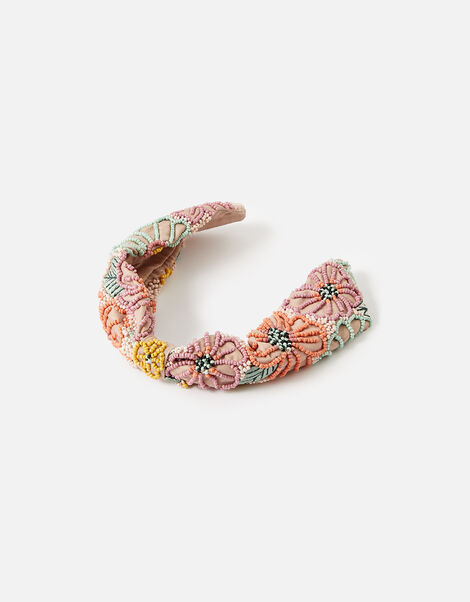 Beaded Flower Wide Headband, , large