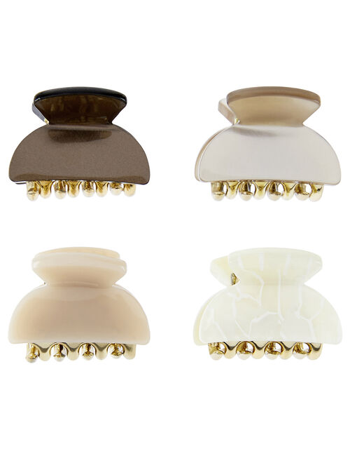 4x Mini Neutrals Bulldog Hair Clips, , large