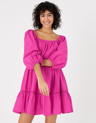 Puff Sleeve Dress in Organic Cotton Pink, Pink (PINK), large