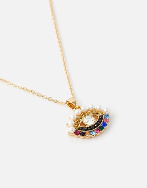 Island Vibes Rainbow Evil Eye Necklace, , large