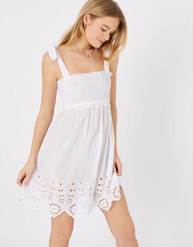 Broderie Hem Bandeau Dress White, White (WHITE), large