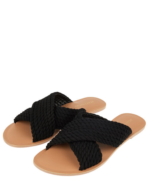 Woven Cross-Over Sliders, Black (BLACK), large