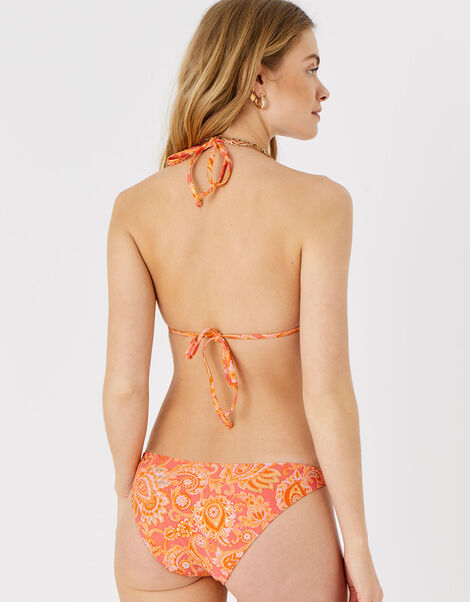 Paisley Foil Ring Trim Bikini Top Orange, Orange (RUST), large
