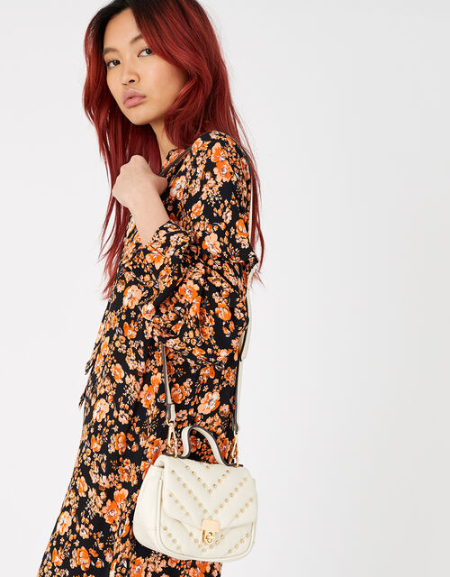 Studded Cross-Body Bag, Cream (CREAM), large