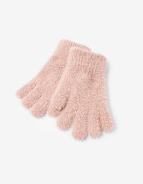 Super-Stretch Fluffy Knit Gloves, Pink (PALE PINK), large