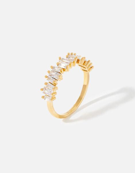 Gold-Plated Baguette Gem Ring Gold, Gold (GOLD), large