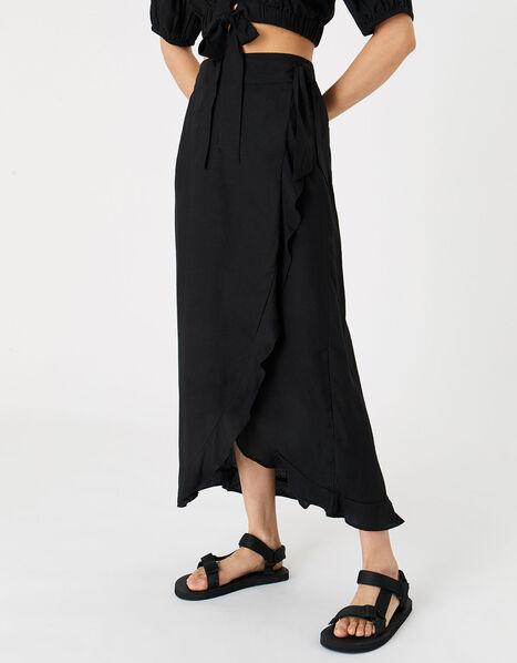 Wrap Co-ord Skirt Black, Black (BLACK), large