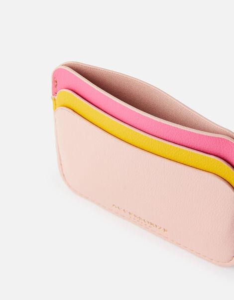 Curve Colour-Block Card Holder  Pink, Pink (PINK), large