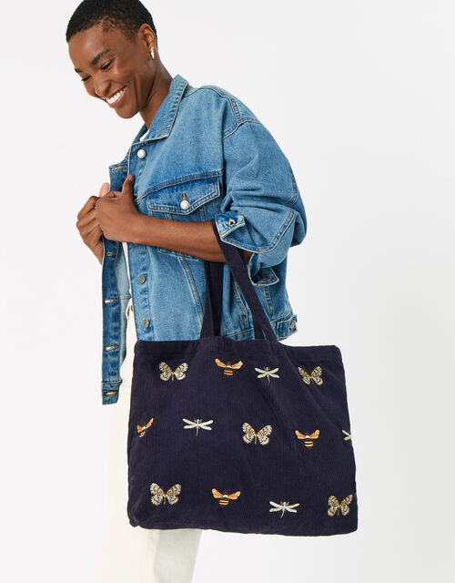 Insect Embroidered Cord Shopper Bag, Blue (NAVY), large