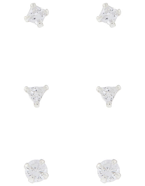 Sterling Silver Crystal Shape Stud Set, , large