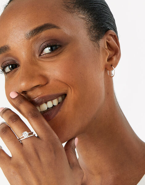 Sterling Silver Round Solitaire Ring White, White (ST CRYSTAL), large