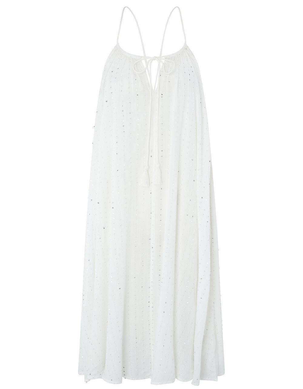 Sequin Swing Midi Dress, White (WHITE), large