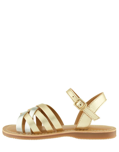 Metallic Leather Sandals, Gold (GOLD), large