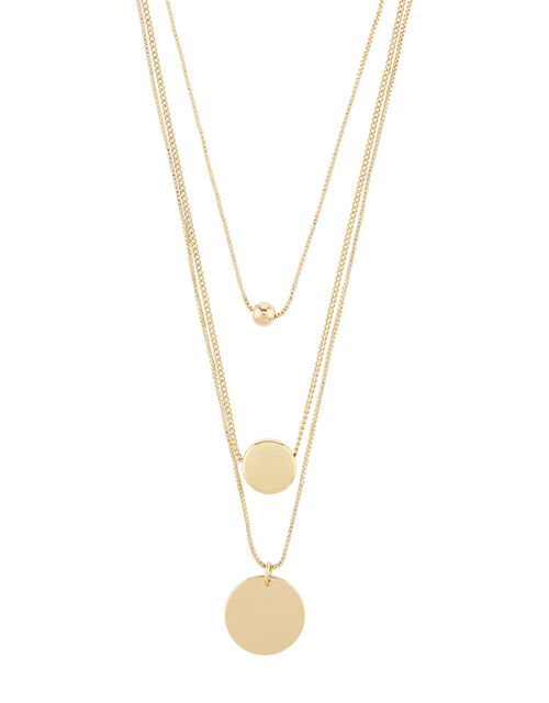 Layered Disc Pendant Necklace, , large