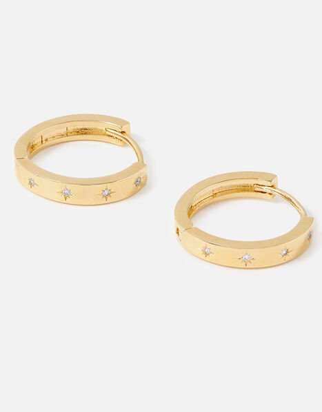 Gold-Plated Crystal Star Chunky Hoops, , large