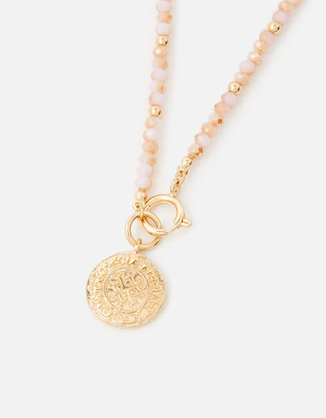 Kendra Beaded Coin Necklace, , large