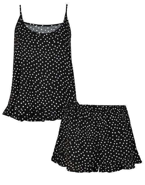 Spotty Pyjama Vest and Shorts Set, Black (BLACK/WHITE), large
