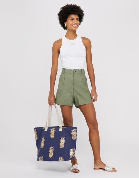Metallic Pineapple Print Tote Bag Blue, Blue (NAVY), large