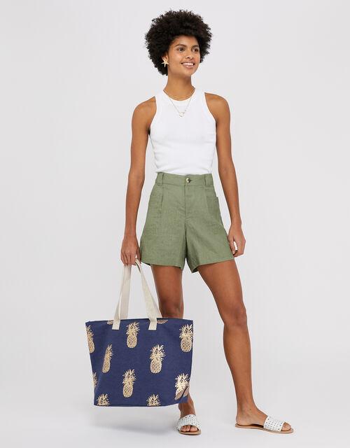 Metallic Pineapple Print Tote Bag, Blue (NAVY), large