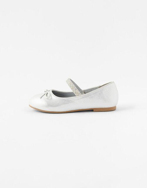 Diamante Strap Ballerina Flats, Natural (IVORY), large