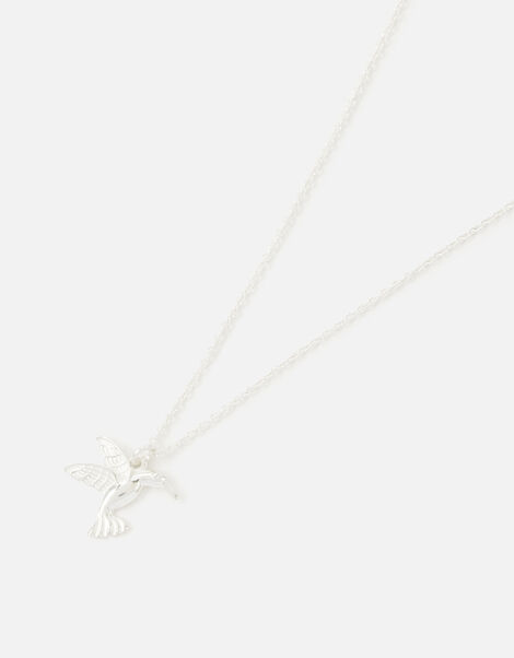 Sterling Silver Hummingbird Pendant Necklace, , large