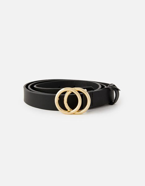 Double Hoop Skinny Belt  Black, Black (BLACK), large